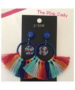 NWT J.Crew Factory MULTI THREAD STRIPES Fan tassel hoop Earrings - $29.99