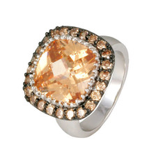 PAVE+ 12MM CUSHION CUT CHAMPAGNE CUBIC ZIRCONIA RING-BRIDAL-AAA STONES - $39.99