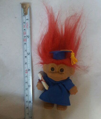 "Primary image for 4"" Vintage Russ Trolls Graduate w/ Cap, Diploma, blue Gown! Graduation, red hair"