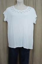 INC International Concepts Top Sz 0X Bright White Grommet Rayon Casual S... - $19.71