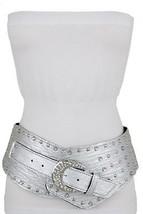 Damen Silber Kunstleder Stecker Bling Schnalle Trendy Sexy West Breiter ... - $32.29