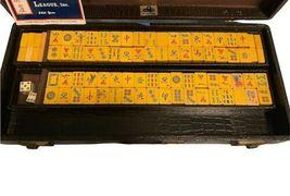 Vintage Butterscotch Bakelite Mah Jongg Set MET Games Perching Parrot USA Made image 3