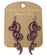 Green Tree Jewelry Ornate Scroll Earrings Purple Wood Wooden Laser Cut #... - $9.99