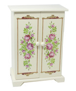 Avon Jewelry Armoire Floral Painted Wooden Box 6 Drawers Necklace Spinne... - $98.54