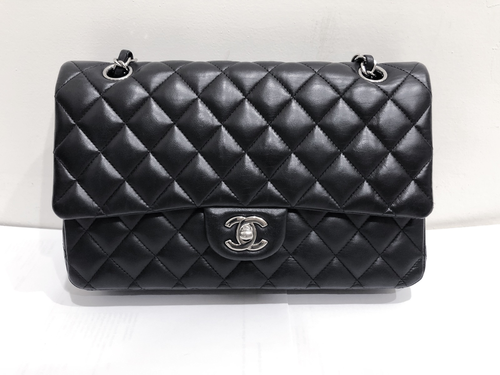 SALE Authentic Chanel BLACK QUILTED LAMBSKIN MEDIUM CLASSIC DOUBLE FLAP BAG SHW