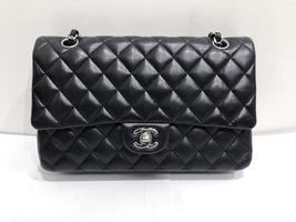 SALE Authentic Chanel BLACK QUILTED LAMBSKIN MEDIUM CLASSIC DOUBLE FLAP BAG SHW image 1