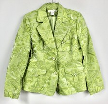 NWOT WD NY Womens 6 S Jacket Blazer Satin Damask  Green Floral Pattern C... - $29.00