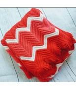 Vintage Pink Chevron Stripes Afghan Blanket with Fringe 69 x 59 - $79.48