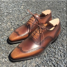 Handmade Men's Brown Wing Tip Brogues Dress/Formal Lace Up Leather Oxford Sh image 1
