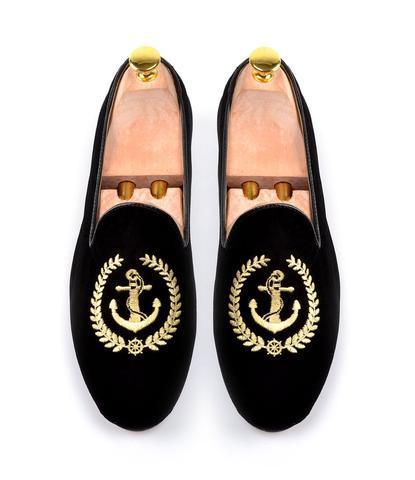 Handmade Men's Black Embroidered Slip Ons Loafer Velvet Shoes