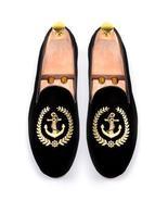New Handmade Men's Black Embroidered Slip Ons Loafer Velvet Shoes - $129.99+