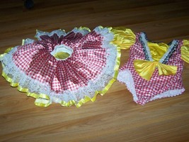 Child Size Large Red White Checked Yellow Dance Leotard & Tutu Red Ridin... - $24.00