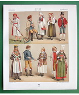 SWEDEN Costume Bride Wedding Couple - 1888 COLOR Print A. Racinet - $14.85