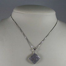 .925 SILVER RHODIUM NECKLACE WITH RHOMBUS WITH ZIRCONIA AND VENETIAN MESH image 1