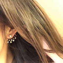 SALE* NEW AUTH Christian Dior 2019 CD DIORAINBOW CRYSTAL LOGO STAR Earrings image 3