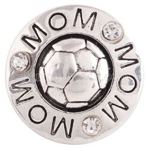 Silver Soccer Rhinestone Mom 20mm Snap Charm Interchangeable For Ginger ... - $6.19