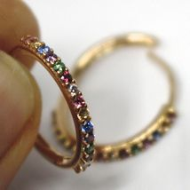 18K ROSE GOLD HOOPS EARRINGS, CUBIC ZIRCONIA MULTI COLOR, 20mm, 0.8 inches image 3