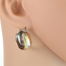 Chunky Striped Tri-Color Silver, Gold & Rose Tone Hoop Earrings- United Elegance - $12.99