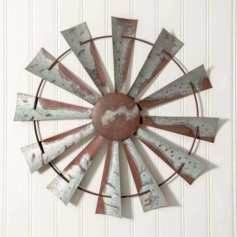 Primary image for Farmhouse New WINDMILL large tin Wall hanging