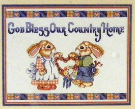 """GOD BLESS OUR HOME"" Bucilla Cross-Stitch 14x18 Sampler #40268 - $12.99"
