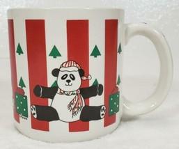 Vintage Christmas PANDA BEAR Coffee Mug L. Mann artwork - $9.99