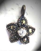STERLING SILVER Small Vintage Marcasite & Crystal Pendant Signed AT - $14.99