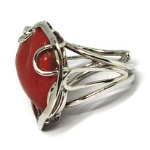 925 SILVER RING, RED CORAL NATURAL HEART, CABOCHON, MADE IN ITALY image 5