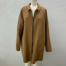 Lafayette 148 Zip Up Jacket Coat Women's L Brown Leather Trim 100% Cashmere - $199.99