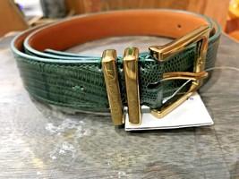Ralph Lauren Collection Womens Geniune Lizard Double Keeper Belt Msrp 695 Green - $99.99