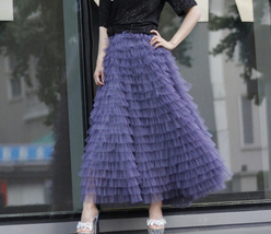 Women Army Green Tiered Tulle Skirt High Waist Tulle Party Tulle Skirt Plus Size image 11
