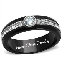 HCJ BLACK STAINLESS STEEL AAA ROUND CZ PROMISE FASHION RING SIZE 10 - $13.49