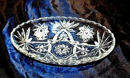 Cut Glass Bowl with of AA18-11905  Vintage Heavy Oval Detailed Etched Design image 3