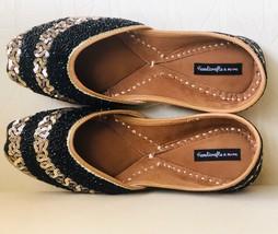Black Gold embellished sequinned wedding shoes, Beaded Bridal Indian foo... - $48.99
