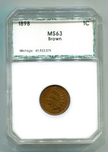 1898 REPUNCH IN SECOND 8 NOT IN SNOW INDIAN CENT PENNY CHOICE UNCIRCULAT... - $85.00
