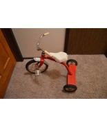 Vtg. Hedstrom Red 2 step 3519 Metal Tricycle Made in the USA Solid Rubbe... - $78.21