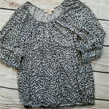 Michael Kors Animal Print Leopard Elastic Hem Top - $24.75