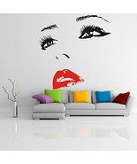 ( 20'' x 19'') Vinyl Wall Decal Womens Face with Hot Lips Silhouette / S... - $21.33