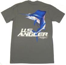 Men's U.S. Angler Shirt Fishing Tee Randy McGovern Design T-Shirt Grey Blue Fish