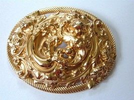 Vintage Napier Huge Layered Repousse Angel Cherub Brooch Pin Gold Tone Oval - $56.43
