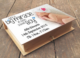 Personalised wooden box and photo album, newborn baby boy birthday present - $17.94+