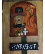 "Scarecrow wooden yard stake harvest autumn fall 15-1/2""x9"" stake 16-1/2"" o - $9.87"