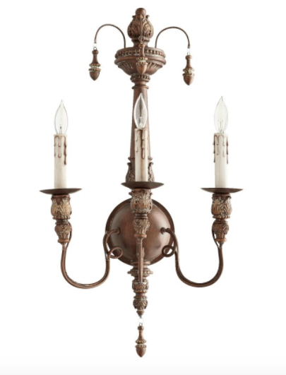 NEW Horchow French Farmhouse Restoration Vintage Antique Copper Wall Sconce  - $244.52