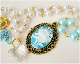 Rose Cameo Necklace, White and Teal Beaded Pearl Chain in Gold - Sweet Lolita image 1