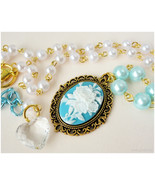 Rose Cameo Necklace, White and Teal Beaded Pearl Chain in Gold - Sweet L... - $22.00