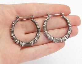 925 Sterling Silver - Vintage Dark Tone Bamboo Style Round Hoop Earrings... - $30.11