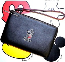 COACH Disney Black Leather Wristlet Bag Limited Edition MICKEY MOUSE Wal... - $89.99