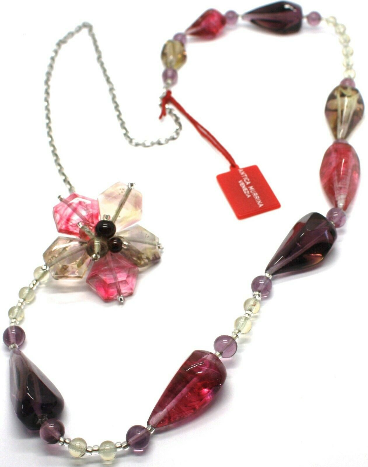 Necklace Antica Murrina Venezia, Glass Murano, 90 cm, CO561A29, Flower Drops Red