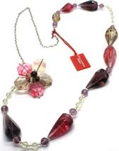 Necklace Antica Murrina Venezia, Glass Murano, 90 cm, CO561A29, Flower Drops Red image 1