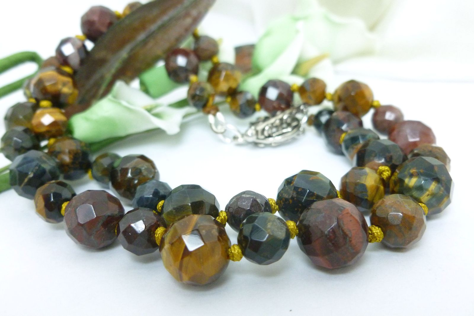 Golden Brown and Red Tiger Faceted Gemstone Beaded Necklace 21 inch