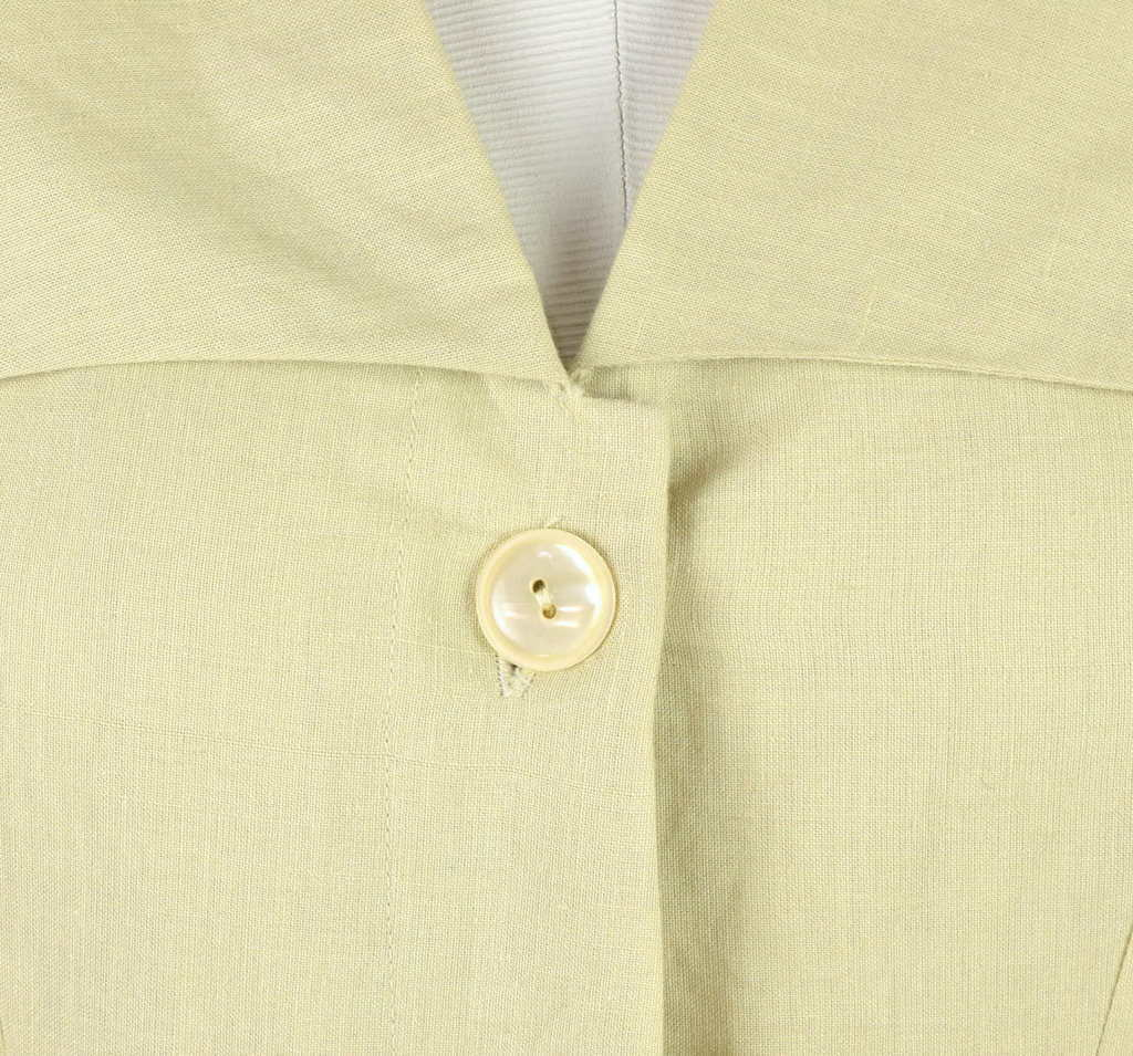 Vintage 80s Beige Cream Maxi Dress Cracker Jack Collar Short Sleeve Retro Size M image 10